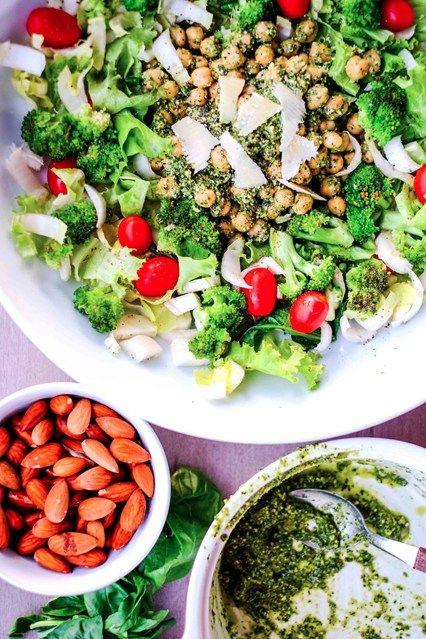 Chickpea broccoli salad with rocket pesto #eatingwell