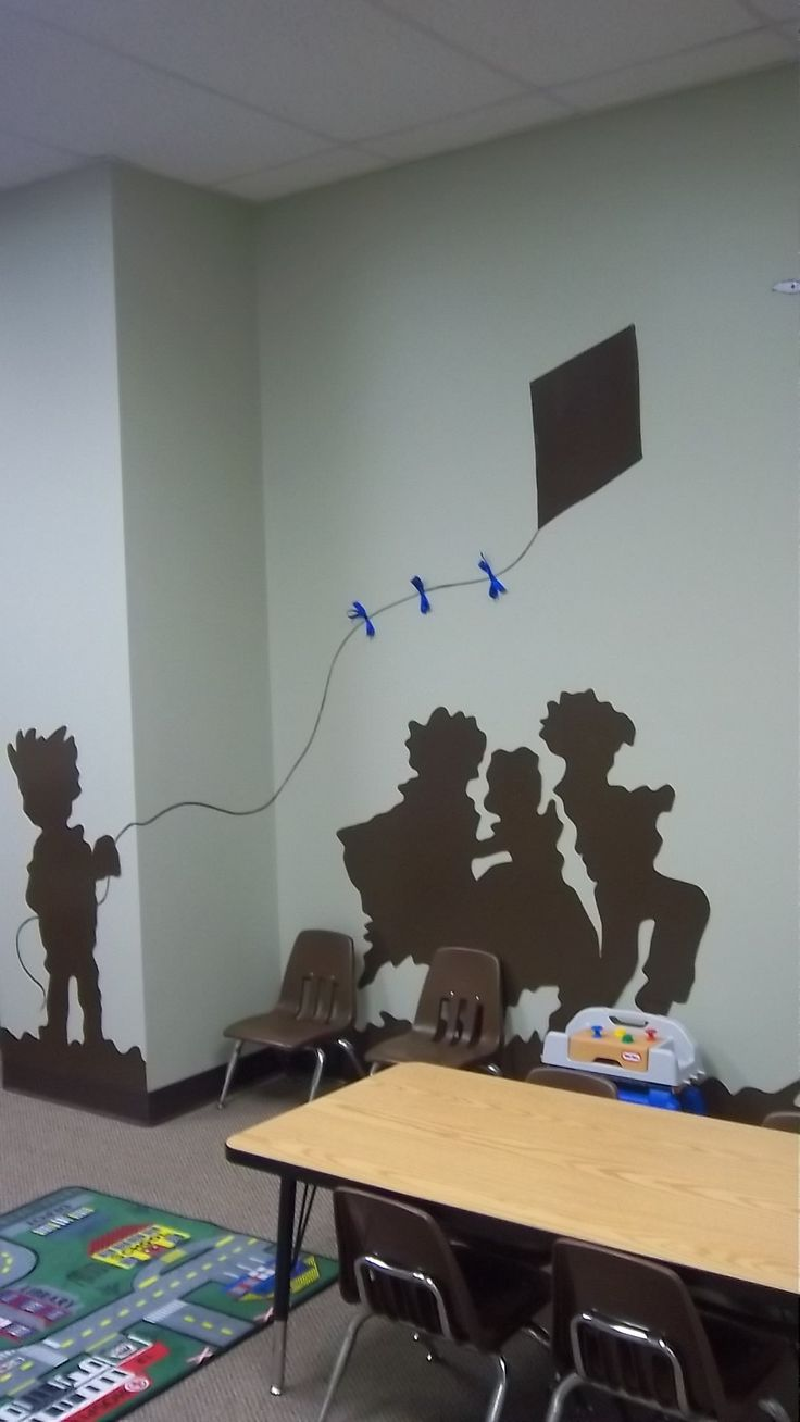 Silhouette of children in church nursery.