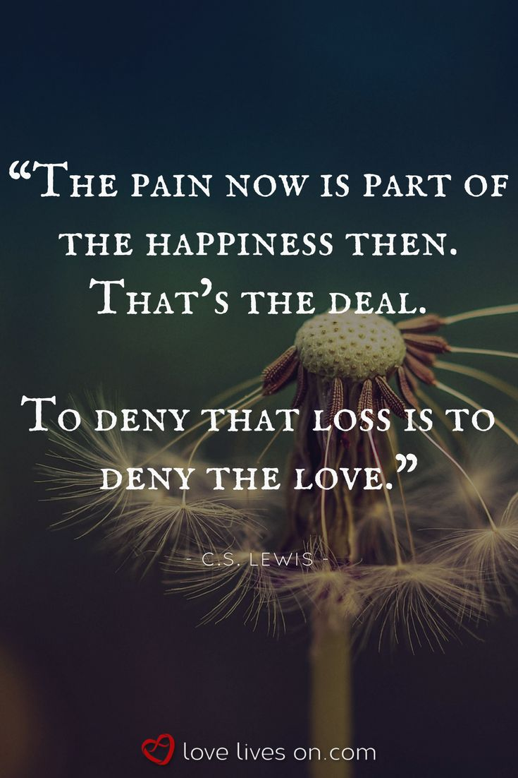 """Grief Definition Quote by C.S. Lewis. To deny loss and the pain that comes with it would be to deny love...Click for more grief definitions & answers to the question """"what does grief mean for my life?"""" Grief Definitions 