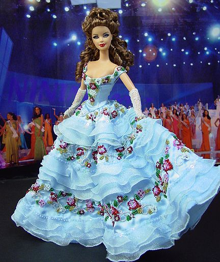 fashion doll, pageant doll, blue dress with flowers