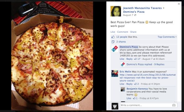 Domino's pizza mistakes Facebook compliment for a complaint.