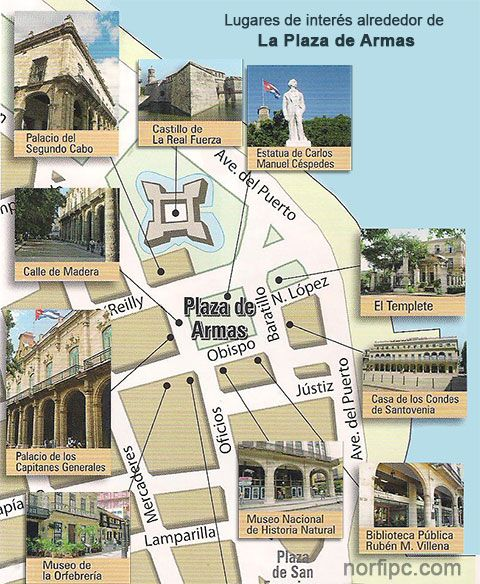 Mapa con los principales lugares de interés alrededor de La Plaza de Armas en la Habana Vieja