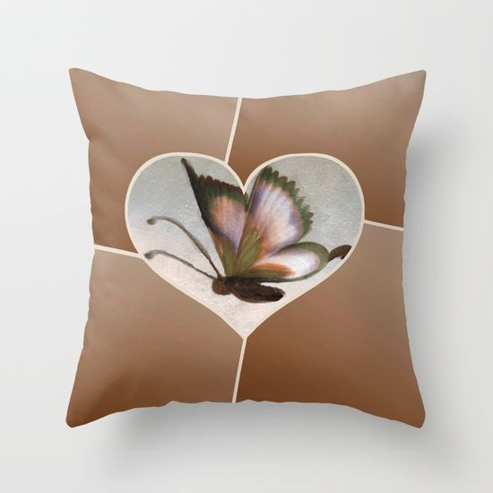 Butterfly Love - Brown Throw Pillow