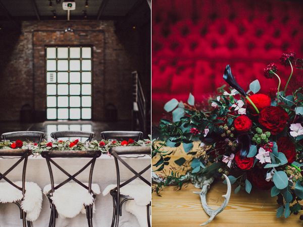 red wedding flowers - photo by Amber Gress http://ruffledblog.com/wedding-inspiration-shoot-with-drama-and-romance