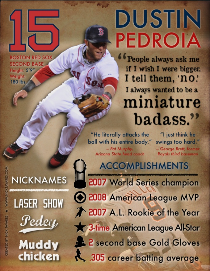 I think this is a pretty cool infographic style piece even though it functions as more of a stylized baseball card.
