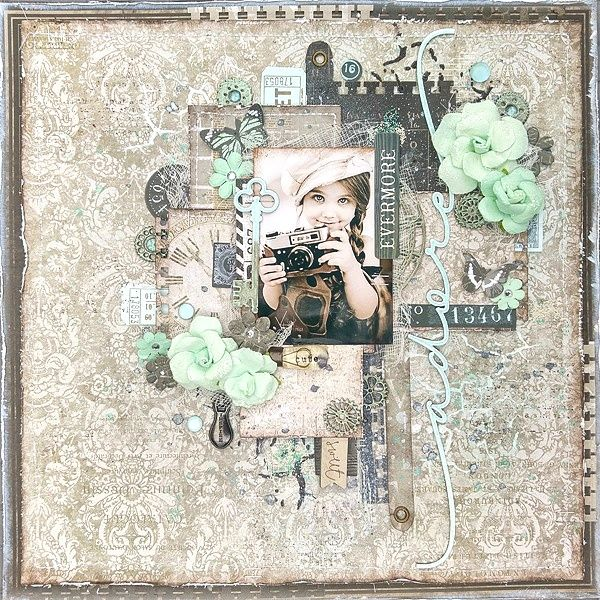 "Prima Marketing BAP of the month June for this layout I used the pretty ""Salvage District"" collection"
