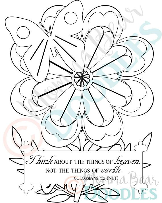 Scripture Coloring Page Flower Colossians 3 2 Printable Coloring