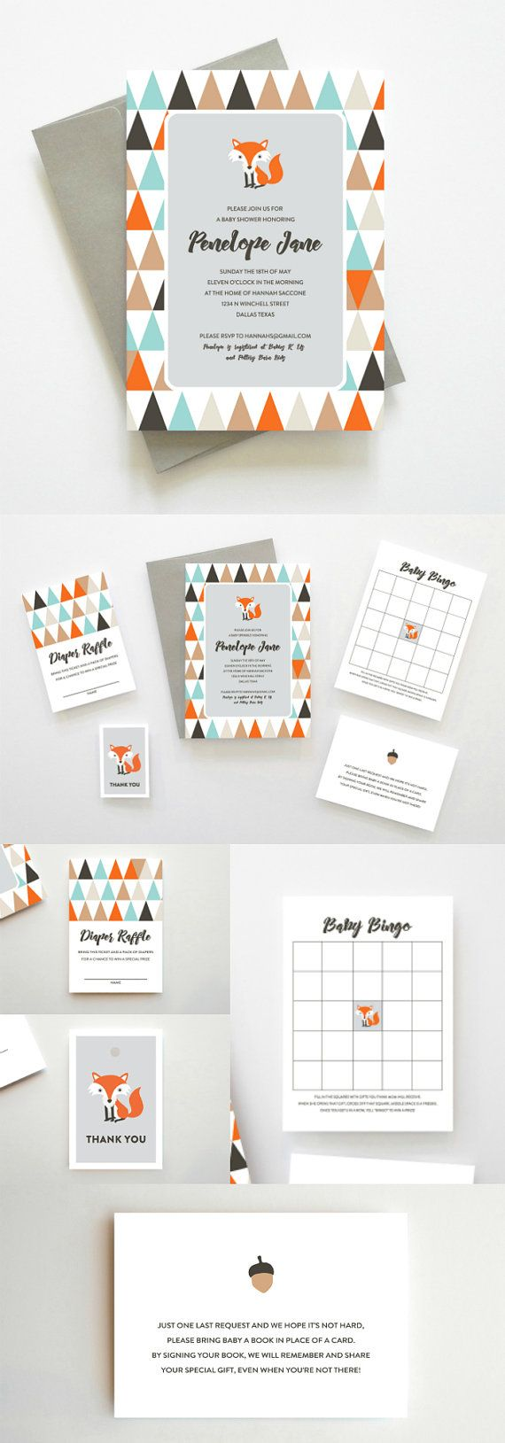 Easy Woodland Baby Shower Theme // Woodland Fox Printable Baby Shower Bundle by Oakhouse