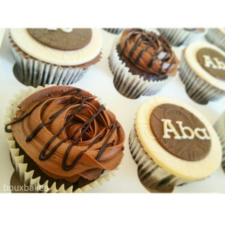 Chocolate Fudge cupcakes topped chocolate buttercream