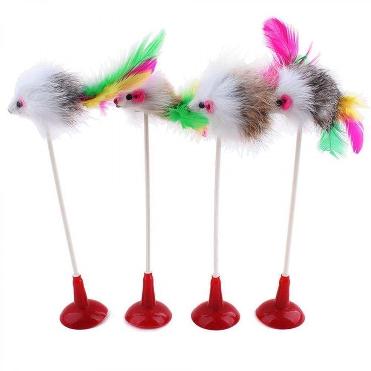 Feather False Mouse Bottom Sucker Pet Cat Toys Seat Scratch Toy Pet Cat Supplies #Unbranded