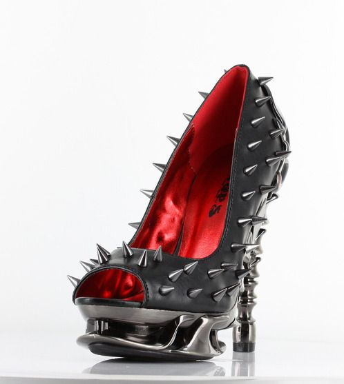 https://www.cityblis.com/7677/item/10200 | Talon - $168 by Hades Footwear | Chrome plated spinal heel, open toe and allover metal spikes. Walk on the dangerous side with these bad boys! | #Heels