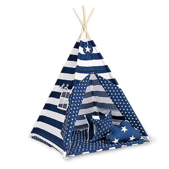 Teepee set with floor mat and pillows Navy Stripes