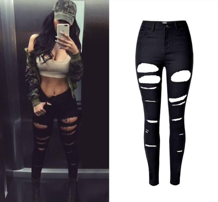 2017 High Quality Robek Skinny Ripped Jeans Women High Waist Slim Black Jeans Mujer Vintage Sexy Hip Hop Push Up Denim Feminina -