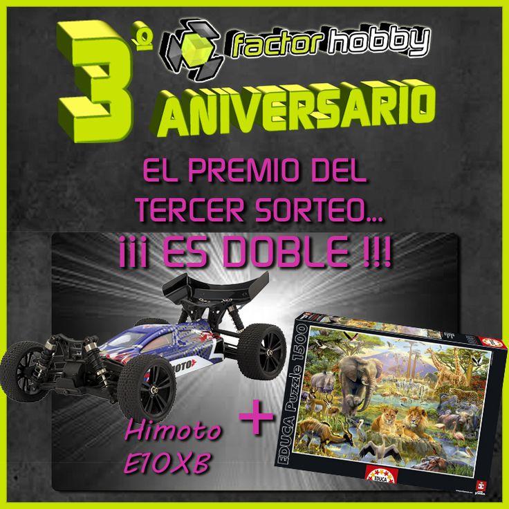 3º #SORTEO TERCER ANIVERSARIO FACTORHOBBY ESTÁ AL CAER!!! PARTICIPA► https://goo.gl/LCmRTF #cochesrc #puzzles #scalextric #juegosdemesa