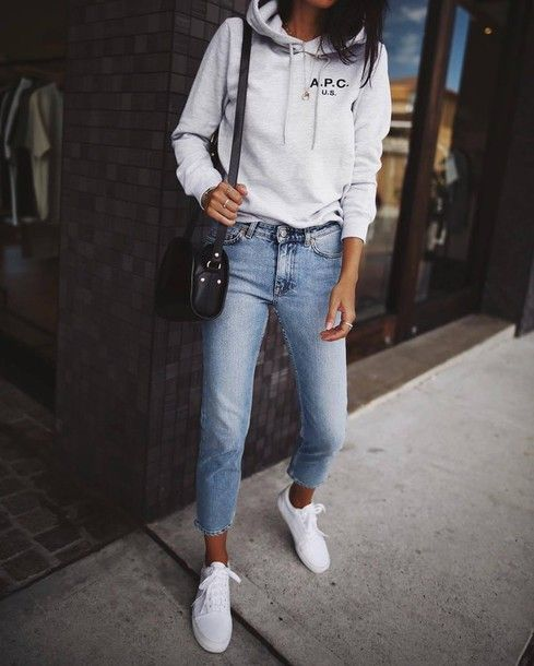 Top: tumblr hoodie grey hoodie bag black bag denim jeans blue jeans sneakers white sneakers low