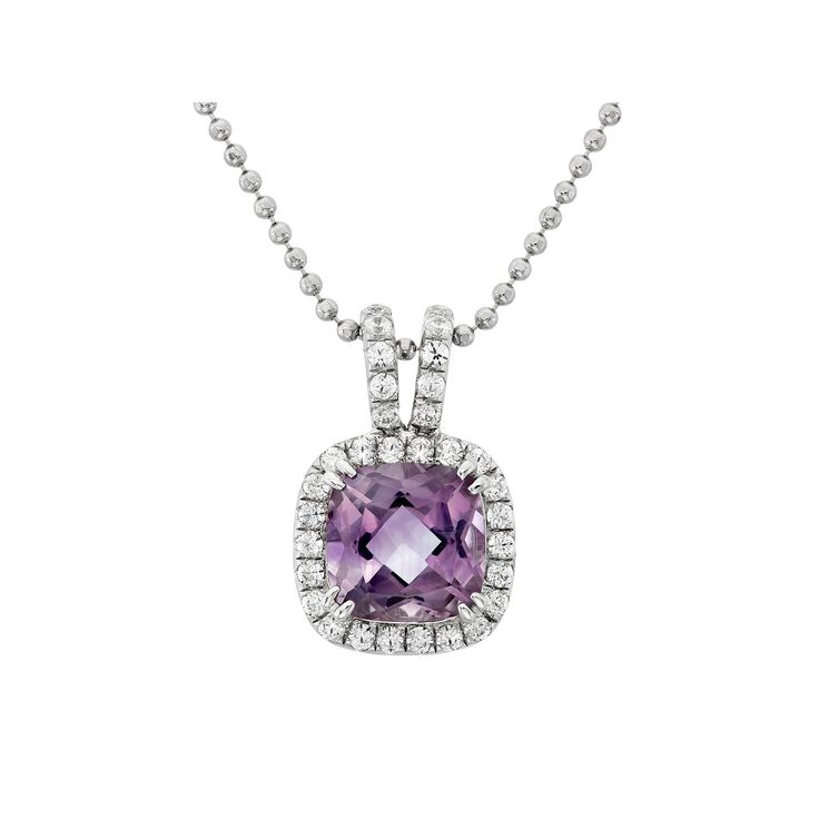 Amethyst and Cubic Zirconia Platinum Over Silver Square Halo Pendant Necklace, Women's, Purple