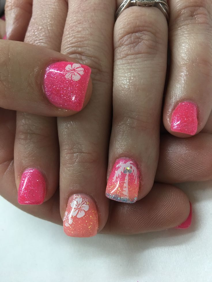 Vacation Tropical Pink Coral Palm tree Hibiscus Gel Nails