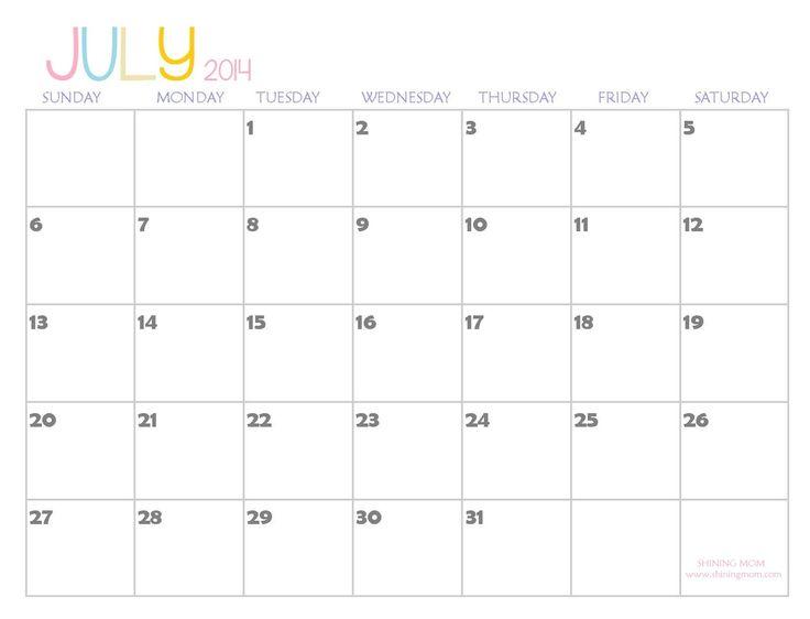 july+2014+printable+calendar | 2014 Printable Calendars {Fresh Designs!}