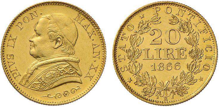 NumisBids: Nomisma Spa Auction 50, Lot 299 : Pio IX (1846-1878) 20 Lire 1866 A. XX – Pag. 528; Mont. 344 AU (g...