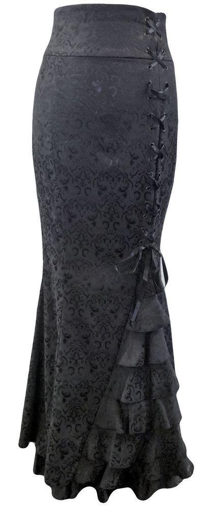 FALDA MORTICIA LARGA GÓTICA LARP BROCADO COLA PEZ PLIEGUES CORSÉ NEGRO 36-58 in Clothes, Shoes & Accessories, Women's Clothing, Skirts | eBay