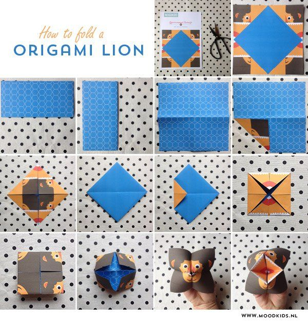 how to fold a paper fortune teller, origami lion, zoutvaatje, leeuw,