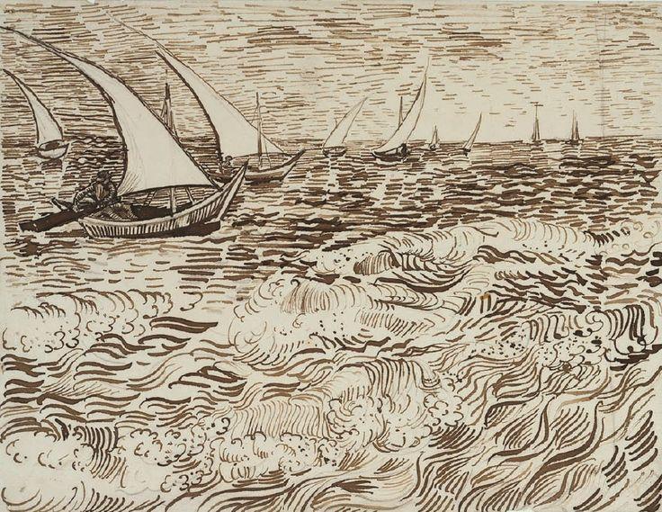 Vincent Van Gogh Drawing , boten op zee, augustus 1888, rietpen, pen, bruine inkt, velijn