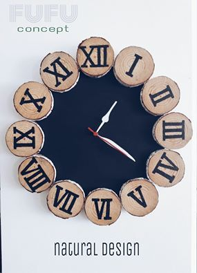 Duvar Saati / Ağaç dilimleri / Wooden wall clock  / rustic clock