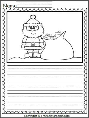 Free Santa Color And Write page.