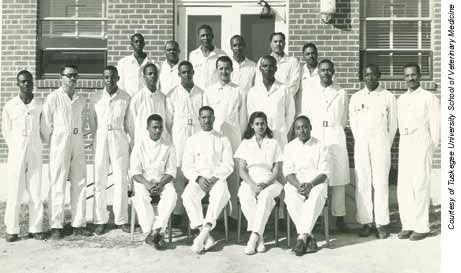 Alfreda Johnson Webb is the first African American woman to receive a Doctor of Veterinarian Medicine degree. She is pictured with the classes of 1949 and 1950 classes of Tuskegee University School of Veterinary Medicine. https://www.avma.org/News/JAVMANews/PublishingImages/100215b1.jpg