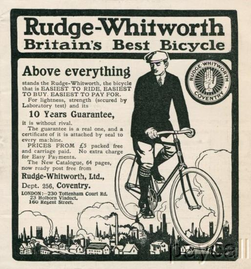 Rudge-Whitworth bicycles, prices from five pounds.