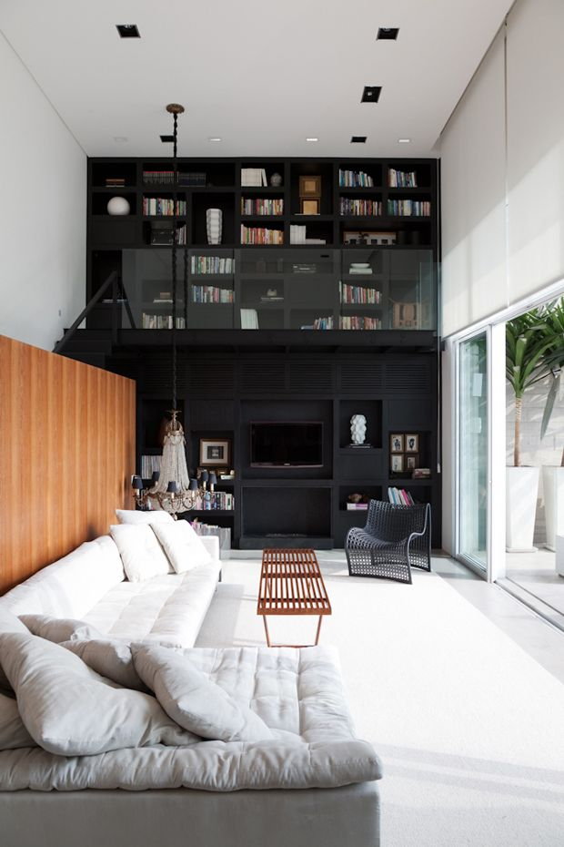 Love the single black wall with double height windows, but - practically speaking - can only one person watch tv?Sao Paulo, Dreams, Livingroom, Interiors Design, Living Room, Loft, High Ceilings, House, Black Wall