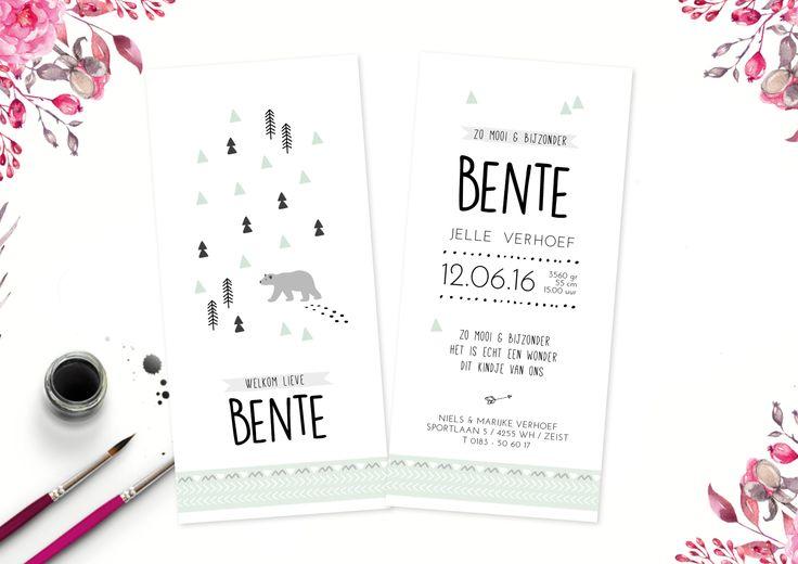 Geboortekaartje Forest bear is een mooi staand kaartje in scandanavische stijl met driehoek patroon en beer. Verkrijgbaar in mintgroen en oud roze.