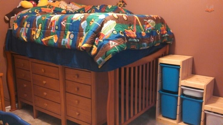 i turned my son 39 s full size bed into a loft bed with his dresser underneath for storage and the. Black Bedroom Furniture Sets. Home Design Ideas