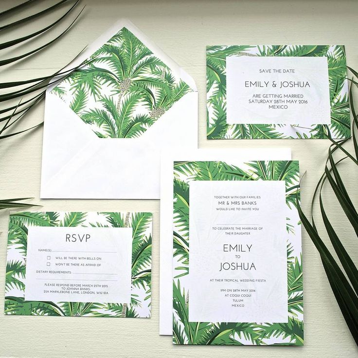 A contemporary, tropical palm print invitation set in vibrant greens combined with elegant typography inspired by beautiful summer days.TIMESCALES: On receipt of your order and all finalised wording for your stationery, I will provide you with an electronic proof within 3 working days. Once you have approved the design for printing, it then takes up to 10 working days to print your items, after which time they will be dispatched. If you would like further updates to your designs after the…