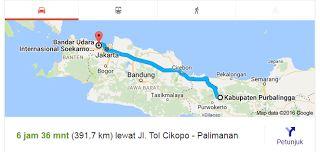 Rute Purbalingga - Bandara Soekarno-Hatta