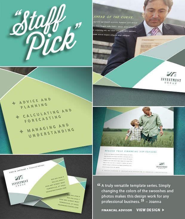 """Staff Pick! """"A truly versatile template series. Simply changing colors of the swooshes and photos make this design work for any professional business."""" - Joanna"""