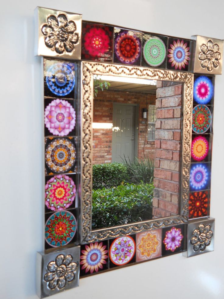 hand punched tin mirror with 18 paintings of MANDALAS Gorgeous .