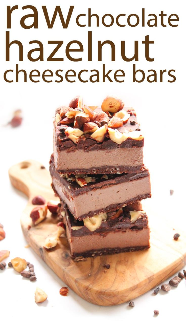 These incredibly decadent Chocolate Hazelnut Cheesecake Bars are not only delicious but healthy too! Vegan, gluten-free, and no refined sugar!