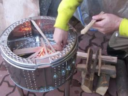 Making Simple and quick fire pit from a washing machine drum