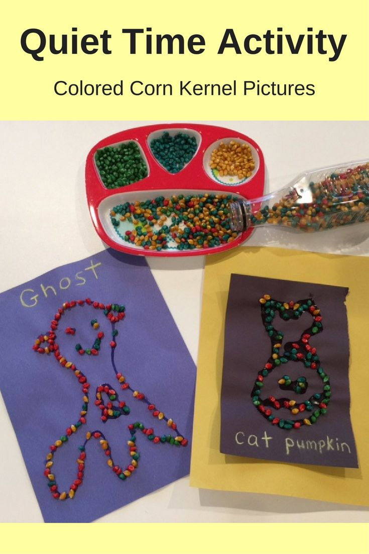 Great quiet time activity for preschoolers. Colored corn kernel pictures. Great idea for Halloween or for fall. See other fall ideas to do with your children.