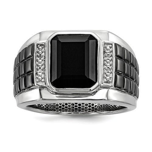 Sterling Silver Diamond & Onyx Square Black Rhodium Plated Men's Ring