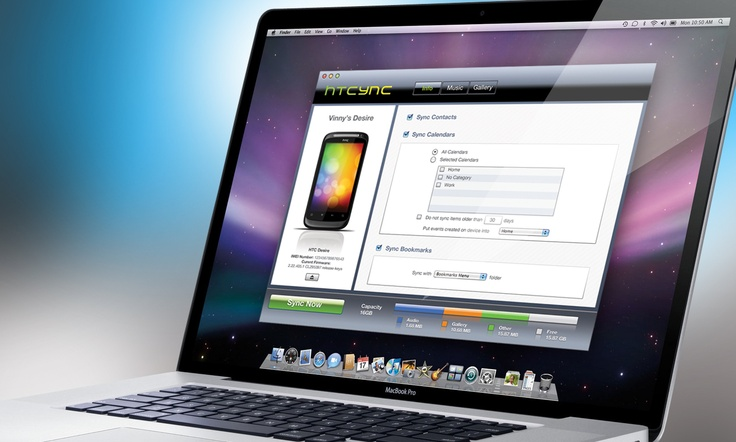 """Application User Interface Design """"HTCync """". Mac to HTC mobile phone, syncing software design."""