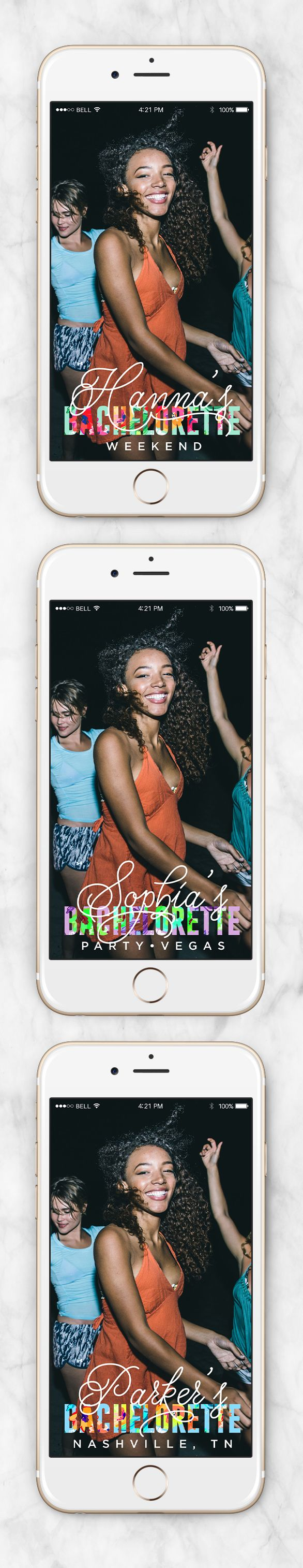Bachelorette Snapchat Geofilter, Party Snapchat Filter, Personalized On Demand Geofilter, Snapchat Geofilter - Tropical Floral Design - Wit & Kit