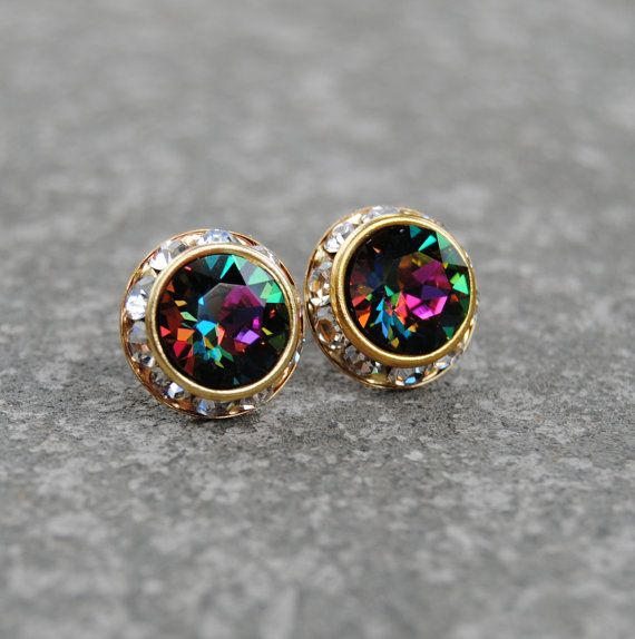 Rainbow Clear Crystal Diamond Earrings Swarovski Crystal Jewel Tone Rainbow Stud Earrings Sugar Sparklers Mashugana