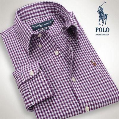Polo ralph lauren mens checked dress shirt purple polo for Purple polo uniform shirts