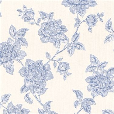 Traditional floral pattern on a high end linen textile wallcovering with a subtle glitter | Duck-Egg Floral Tradition R3241