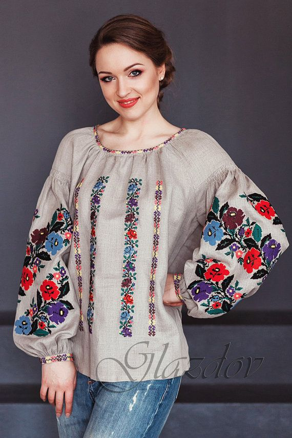Vyshyvanka ukranian blouse embroidered blouse by GLAZDOV on Etsy
