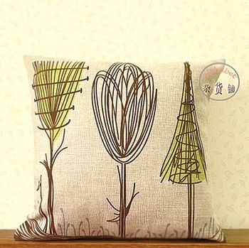 Free shipping 2pcs/lot Home Rural style 100%  natural Linen  Cornfield print Sofa Pillow cushion cover/C7009