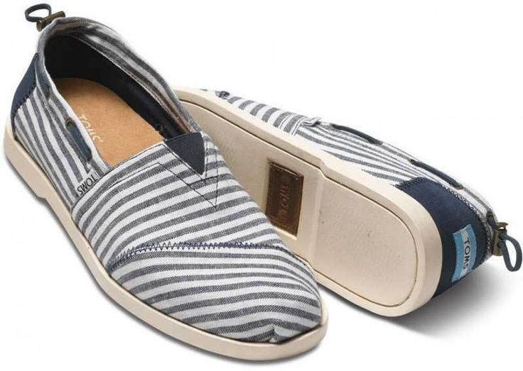 Toms Nautical Bimini Stripe Mens Shoe Navy/White BNIB UK Size 8 US Size M9