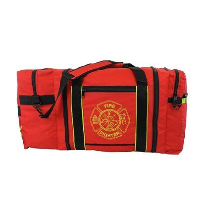 TheFireStore Jumbo Red Firefighter Gear Bag has the ability to carry all your gear and supplies and let's you organize or separate wet items from dry. It's lightweight, water and stain resistant, fast-drying, and anti-bacterial.